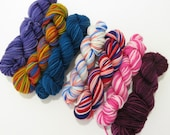 Collection J Sock yarn minis, 7 - 25 yds each, 175 yds total