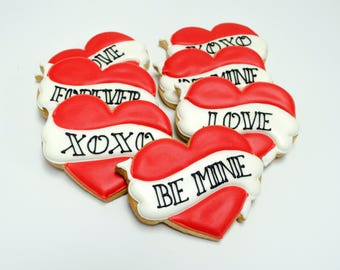 Decorated Cookies - Tattoo - Hearts - 1 Dozen