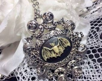 Gothic Jewelry Halloween Morbid Bat Woman Pendant Cameo Necklace Unique Wearable Art