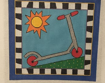 """Clearance - """"Scooter"""" Handpainted Needlepoint Canvas by DeElda Wittmack"""
