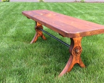Handcrafted, Wood bench, original design, steel legs, distressed,legs resembles old copper.