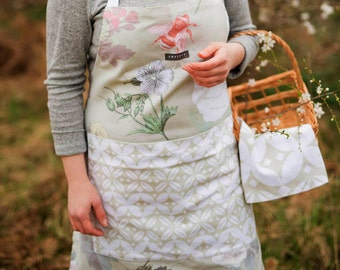 "Apron, Kitchen Apron, Laides Apron, Pinafore Apron, Full Kitchen Apron, Vintage Green Garden Apron ""The English Mansion Range"" By Amy Lucy"