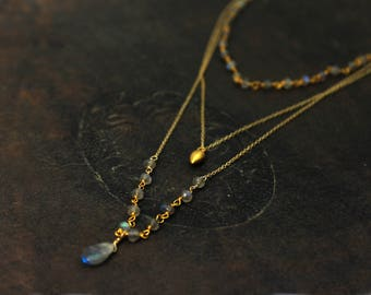 Multi Chain Choker. Labradorite Necklace, Tiny Pod Necklace. Rosary Wire wrapped Gemstones. N2520-1