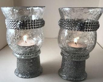Wedding Centerpieces, Wedding Centerpiece,Silver Centerpiece,Glitter Candleholder,Silver Candleholder,Wedding Gift,Table Centerpiece