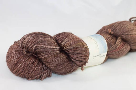 Silk and Wool Fingering Weight Yarn, Hand Dyed in Cherry Cordial Colorway