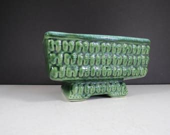 Mod Pottery Planter // Vintage Retro Green Textured Rectangular Ceramic Garden Dish Flower Pot Footed Pedestal Base 1960's Home Decor