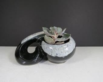 Mid Century Modern Planter // Vintage Abstract Black Gray Drip Glaze Pottery Planter Dish Swirled Design Succulent Garden Atomic Era
