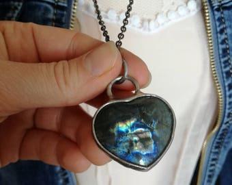 Bridal Necklace, Labradorite Necklace, Bridesmaid  Gift, Gift for her, Labradorite Pendant, Unique Jewellery