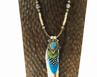Alaska Beaded Feather Necklace