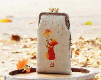 Hand painted cell phone case Little red riding hood, Hand-embroidered, Gadget case, iPhone case