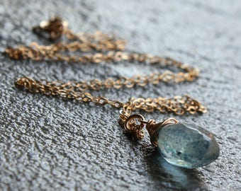 London Blue Topaz Necklace, 14kt Gold filled wire wrap, blue gemstone solitair pendant necklace, boho style, holiday gift for her, 4305
