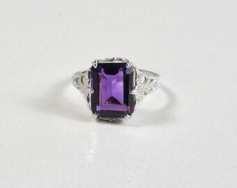 Filigree Amethyst Ring, Antique Amethyst Ring, White Gold Filigree, Amethyst Ring, February Birthstone, Birthstone Ring, Amethyst Filigree