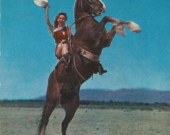 I Thought Chaps Were Guys - Vintage 1950s Plastichrome Cowgirl Glam Horse Postcard