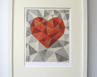 Red and White Geometric Heart Art - Story Reconstructed No29 - Metallic Silver Modern Wall Decor - Book Paper Collage - Modern Home Decor