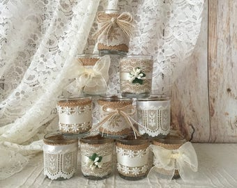 10x burlap and ivory lace covered votive candle holders with 10 votive candles