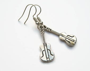 Acoustic Guitar Earrings, Personalized Earrings, Spanish Guitar Earrings, Music Charm, Musical Instrument, Guitar Jewelry, Antiqued Silver