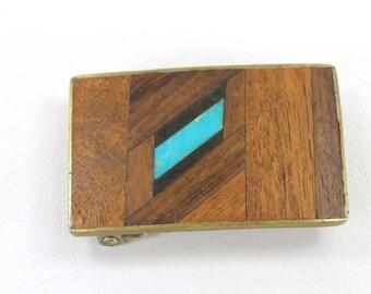 Vintage Wood Inlay Belt Buckle
