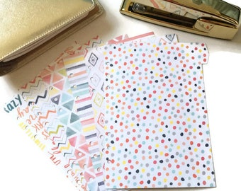 Set of 6 // A5 or Personal Planner Dividers // A5 Dividers // Personal Dividers // Pastel Dividers // Watercolor Dividers // Spring Dividers