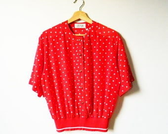 Bright Red Polka Dot Blouse / Banded Waist Colorful Dot Blouse / Button Down Retro Polka Dot Top