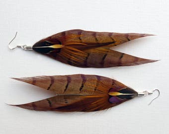 Feather Arrow Earrings, Pheasant feather dangle earrings, handmade jewelry, a christmas gift for her, stocking filler