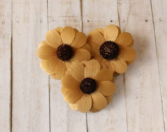 12 Pcs Gold Zinnia Wooden Flowers for Weddings and Other Floral Decorations
