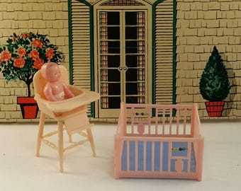 Vintage Renwal Nursery Furniture -- Pink Highchair,  Playpen and Baby, 3/4 Scale, Midcentury for Tin Litho Dollhouse, Baby Shower Decoration