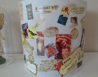 French Cottage Lampshade, Decoupage Lampshade, French Design, Paper Collage Lampshade, Cottage Chic, Lampshade, French Lampshade