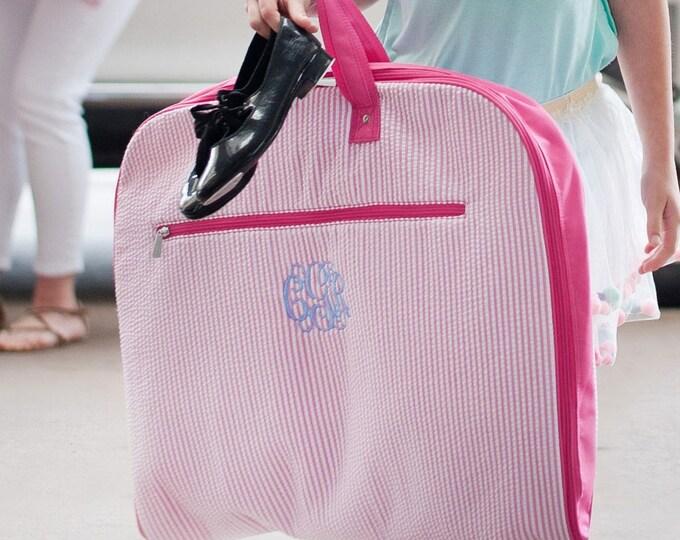 Monogrammed Garment Bag, Seersucker Garment Bag, Flower Girl Gifts, Personalized Garment Bag, Pageant, Dance, Girls Garment Bags