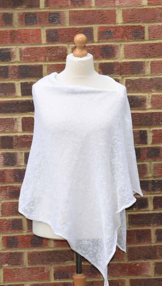 White Linen Knit Poncho Cape. Beach Wedding Cover up. Summer Linen Tunic. Fashion statement .Linen Nursing poncho,Bridal linen Poncho