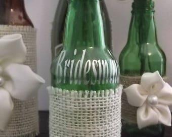 Glass Bottle Burlap Jewelry Holder Jewelry Box Alternative Bridal Bridesmaid Gift Jewelry Display