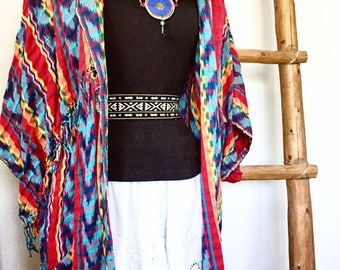 Southwest Native Fringed Cotton Cardigan