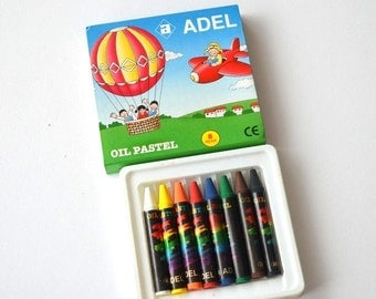 Adel Oil Pastels Sticks, Brilliant Colors, 8 Color crayons Oil Pastels, Colored Oil Pastels in Original Box Set of 8 colours gift for kid
