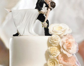 Wedding Cake Topper, Bride and Groom Cake Top, Romantic Dip Wedding Cake Topper, Wedding Cake Tops