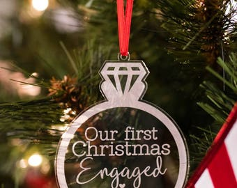 Our First Christmas Engaged Ornament Personalized, Personalized Christmas Ornament, Engagement Ornament, Christmas Gift for Engaged Couple