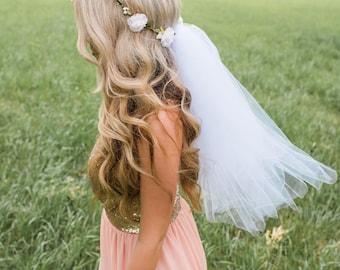 Flower Crown Veil - Boho Bachelorette Veil - Bachelorette Flower crown - Bridal Crown - Bridal Flower Crown - Bachelorette Veil - Bride