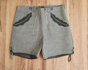 1970s Slate Gray Leather Lederhosen, Seventies Austrian Hungarian Leather Shorts, Gray & Green Suede German Oktoberfest Octoberfest Shorts