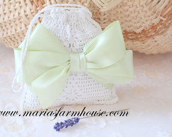 DRIED LAVENDER, Crochet Lace Dried Lavender Bag with Satin Sage Green Bow with Handles, Gifts for Her
