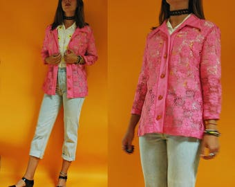 1960s / 1970s Bright Pink Floral Lace Button Down Layering Top