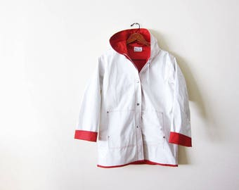 Vintage Rain Jacket - Vinyl Rain Coat - White Red Womens Hooded Rain Jacket - PVC Jacket - Women Rain Coat - 80s Clothing - Rain Jacket S