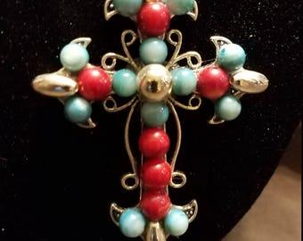 Gem Stone Cross Necklace
