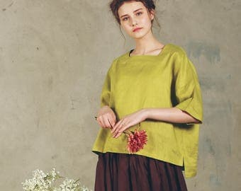 linen blouse in lime green (more colors), drop shoulder linen tunic, half sleeve top, summer linen shirt, loose fitting linen kimono