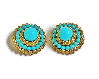 Vintage CORO Earrings Turquoise Blue Bead Gold Metal Tiered Round Clip Backs, Signed Vintage Designer Jewelry