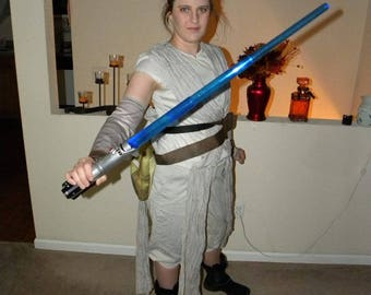 Modified Hallowen Costume Rey from Star Wars The Force Awakens LightSaber and Staff