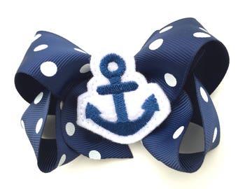 Nautical hair bow - nautical bow, hair bow, 4 inch bows, navy bows, boutique bows, girls hair bows, toddler bows, summer bows