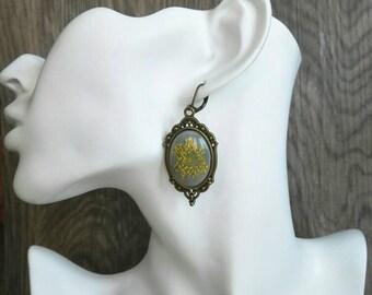 Yellow flower earrings Statement earrings resin jewelry jewellery wearable plant Pressed flower dangle earrings terrarium jewelry gothic