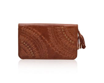 PEACOCK. Camel color leather wallet / leather clutch / camel wallet / travel wallet / boho wallet. Available in different leather colors