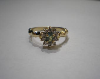 Vintage 14k Gold Natural Alexandrite Diamond Halo Bamboo Ring Size 6.75
