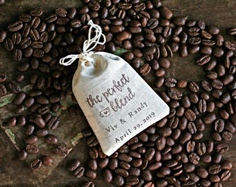 Wedding favor bags, set of 50, personalized coffee or tea favor bags, Perfect Blend, Bridal shower, party favors, coffee favor, tea favor
