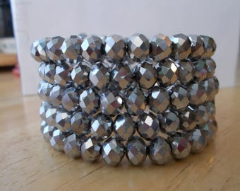 5 Row Silver Crystal Beads Memory Wire Cuff Bracelet