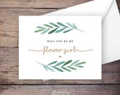 Garden Wedding Be My Flower Girl Card, Printable, Instant Download Greeting Card - Will You Be My Flower Girl, Wedding Card – Waverly